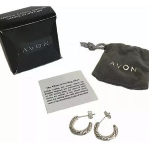 2/$35 🤍NEW Avon Textured Sterling Silver Hoops